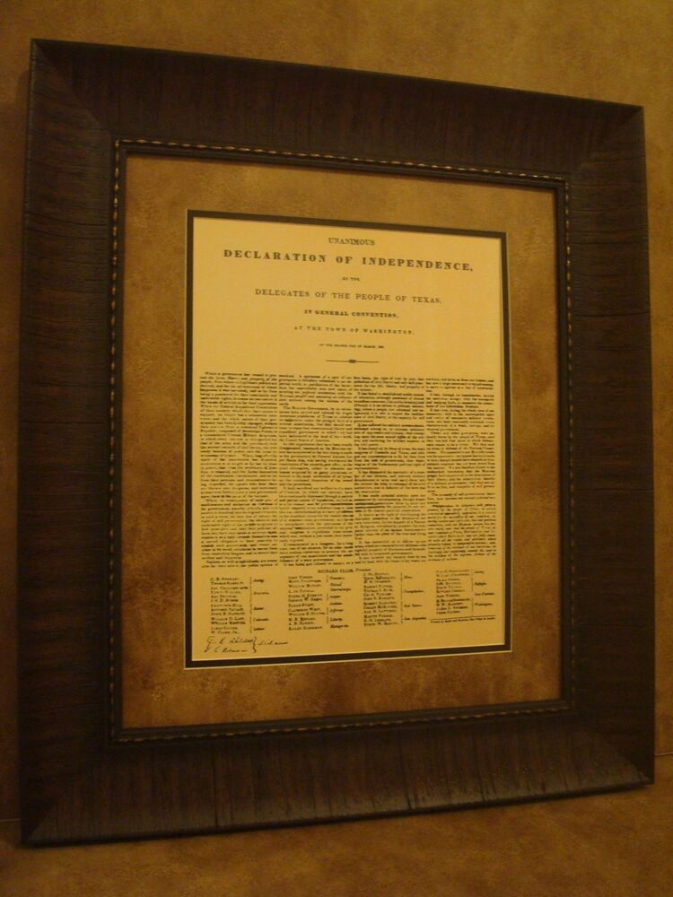 Texas Declaration of Independence Framed in Rustic Brown Frame | eBay