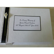 Personalised Condolence Bereavement Funeral memorial guest book black white lily