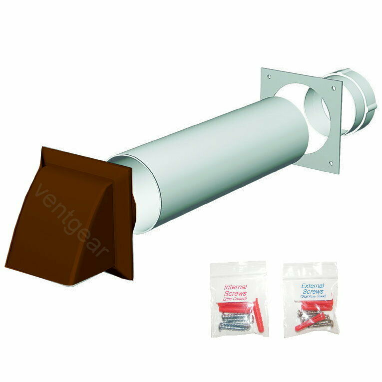 Tumble Dryer Exhaust Pipe ~ Universal tumble dryer wall vent kit brown cowl mm
