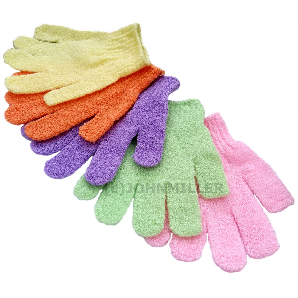 Pair Of Exfoliating Hand Scrubbing Shower Gloves, Cleans