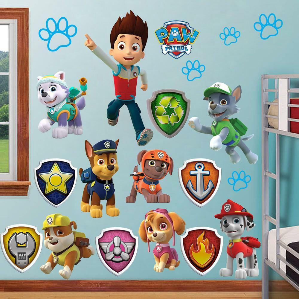 huge paw patrol wall stickers kids decor removable decal. Black Bedroom Furniture Sets. Home Design Ideas