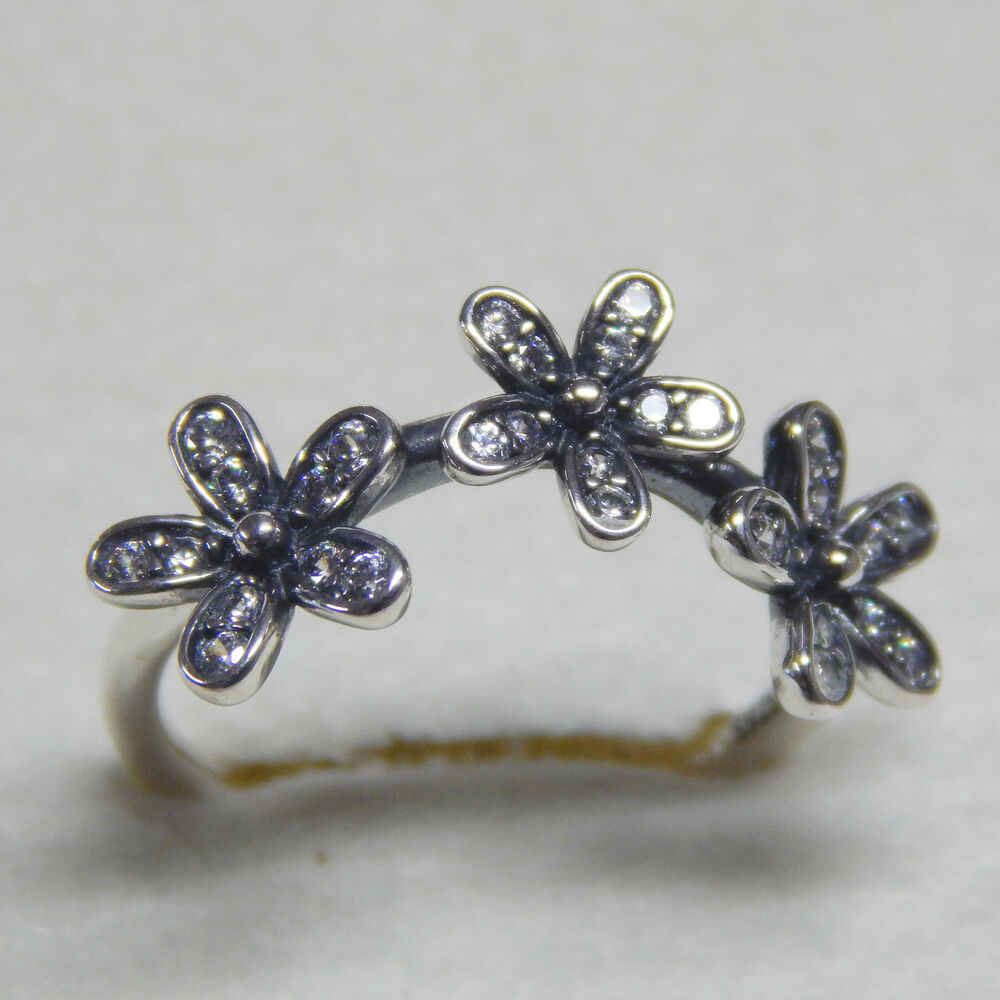 ab666f26e Details about New Authentic Pandora Ring 190933CZ Triple Dazzling Daisy zs  60 Box Included