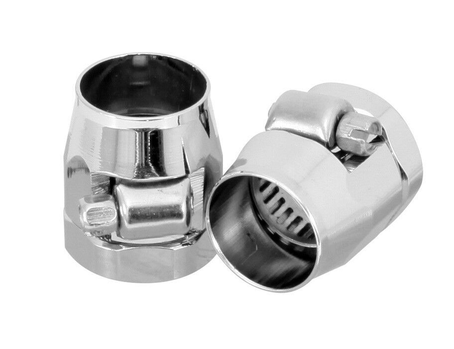 Fuel line fittings worm gear clamps chrome ea for quot i