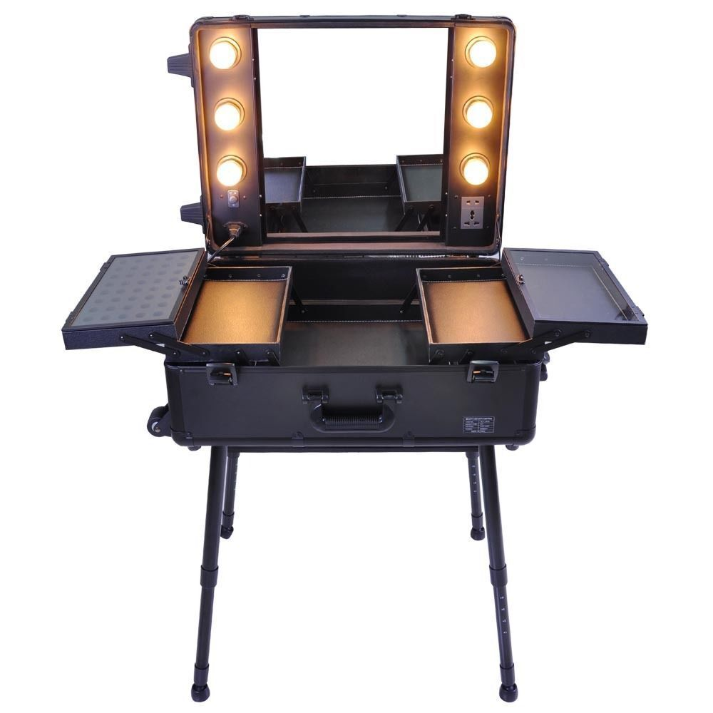 pro rolling studio makeup train case cosmetic w light leg mirror wheeled blac. Black Bedroom Furniture Sets. Home Design Ideas