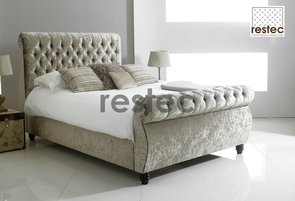 Chesterfield Swan Scroll Fabric Upholstered Bed Frame
