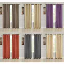 Kyпить 2 PANEL SOLID LINED THERMAL BLACKOUT GROMMET WINDOW CURTAIN DRAPE 2 SIZES K32 на еВаy.соm