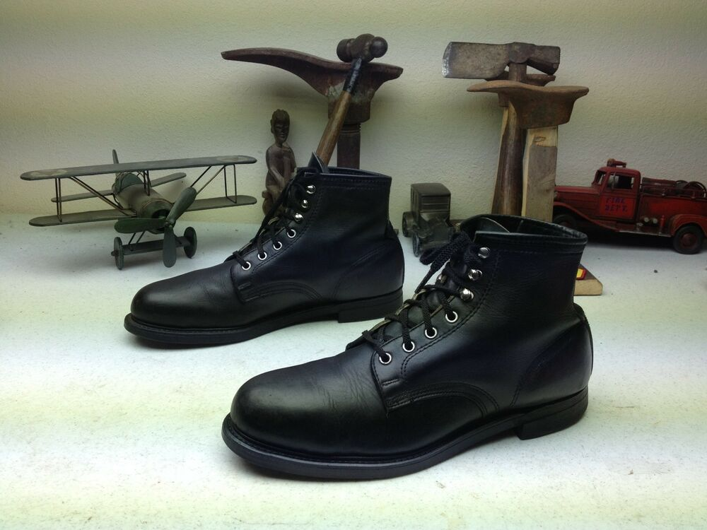 Vintage Black Leather Knapp Made In Usa Steel Toe Engineer