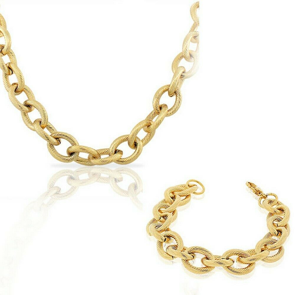 stainless steel yellow gold plated chunky large link chain
