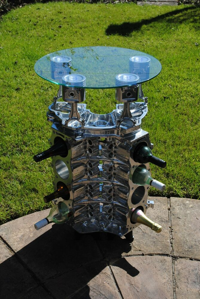 "Rover V8 Engine - Wine Rack / Occasional Table 95% Upcycled ""Top Gear"" style 