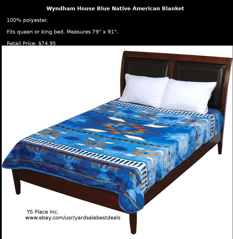 Wyndham House Blue Native American Luxury Soft Blanket