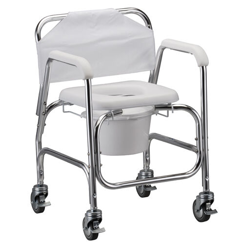 nova medical bathroom deluxe shower chair and commode with locking wheels new ebay. Black Bedroom Furniture Sets. Home Design Ideas