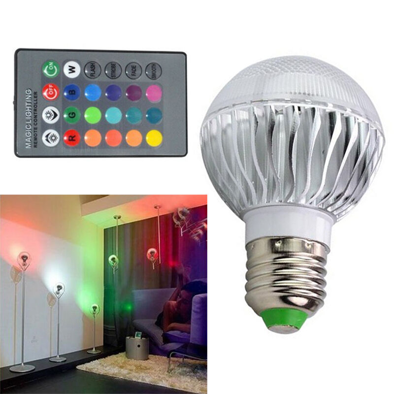 e27 15w rgb led lamp color changing light bulb 85 265v with remote control new ebay. Black Bedroom Furniture Sets. Home Design Ideas