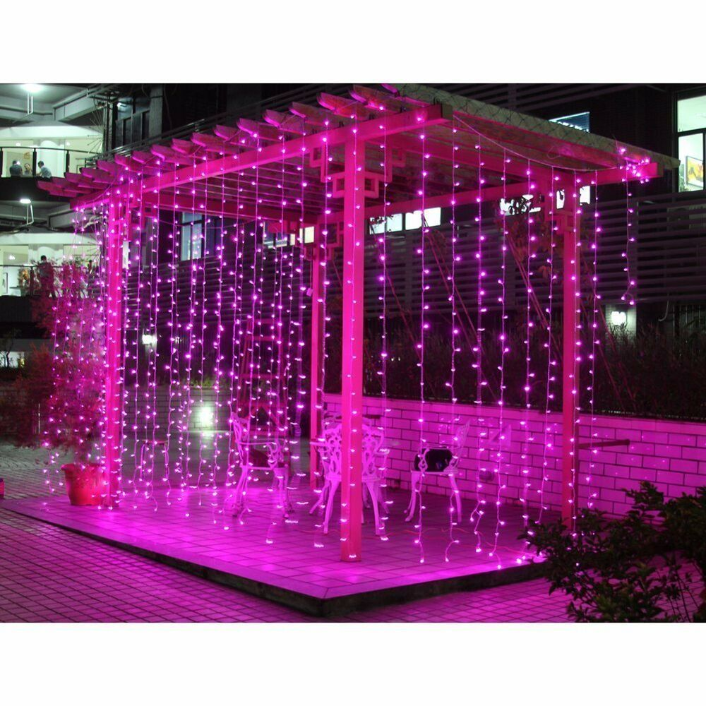 Outdoor Curtain String Lights : 3Mx3M 300 LED Outdoor christmas xmas String Fairy Wedding Curtain Light Pink110V eBay