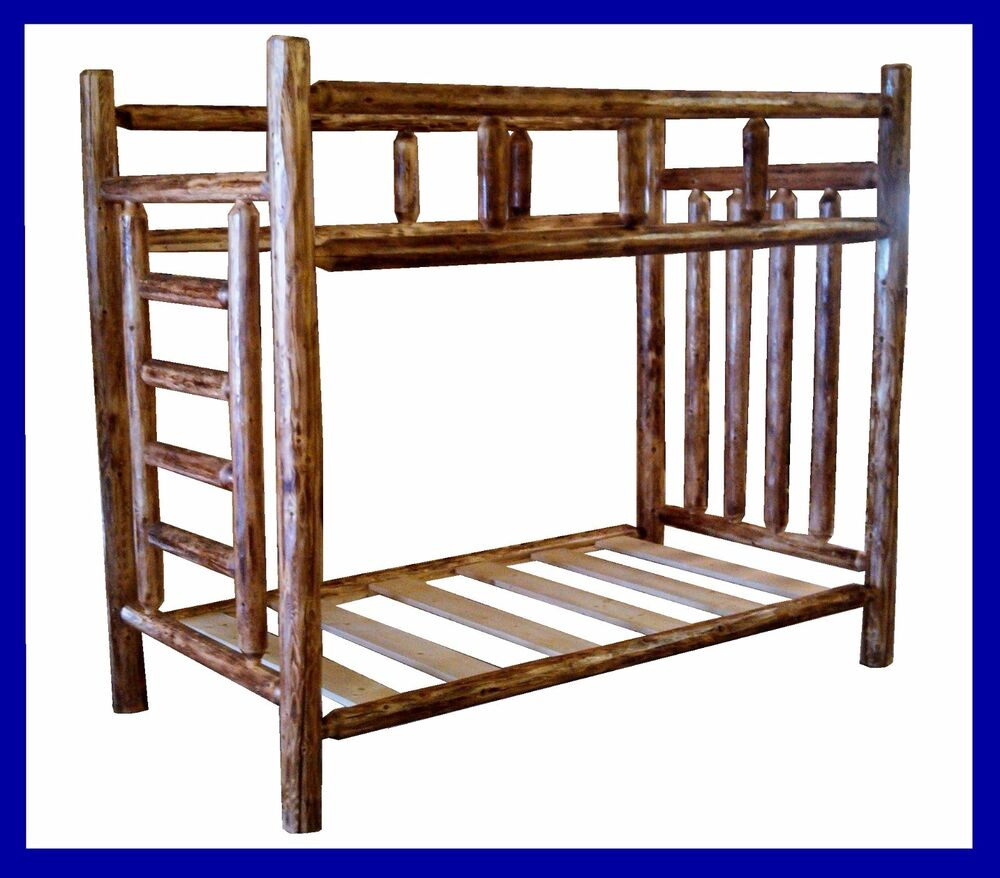 Classic cedar rustic log bunk bed twin twin ebay for Diy rustic bunk beds