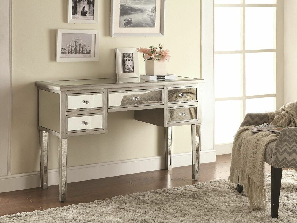 bathroom vanity desk mirrored furniture table glam cabinet ebay