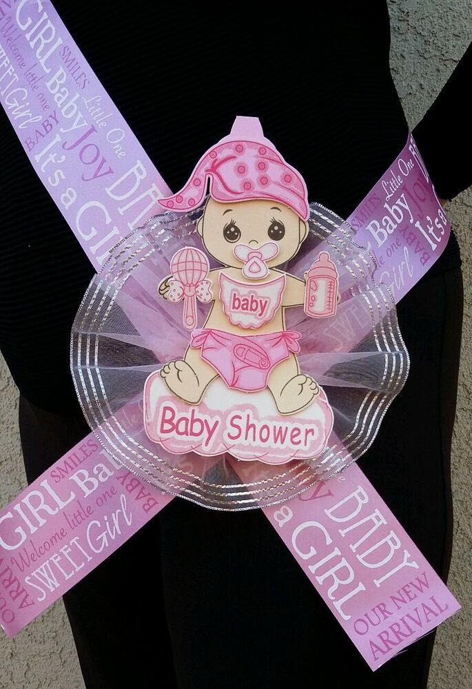 Baby Showers History ~ Baby shower mom to be sash pink girl ribbon favor