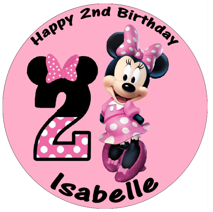 Minnie Mouse 2nd Birthday Personalised Cake Topper 7.5 ...