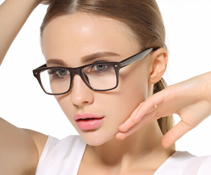 Fashion Womens Full Rim Plastic Rectangular Eyeglasses ...