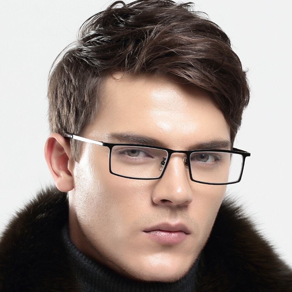 Men s Eyeglass Frames : Mens Pure Titanium Rectangular Eyeglasses Frames ...