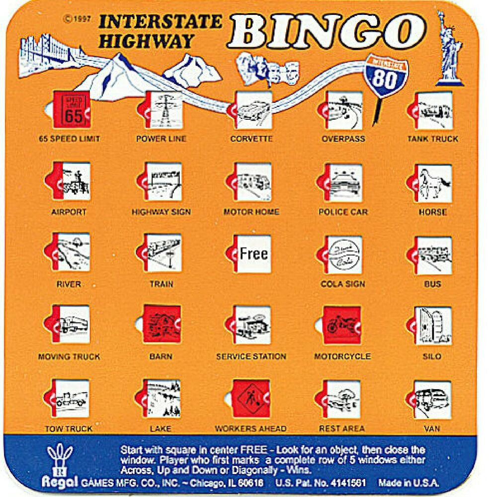 This is a graphic of Zany Car Bingo Game