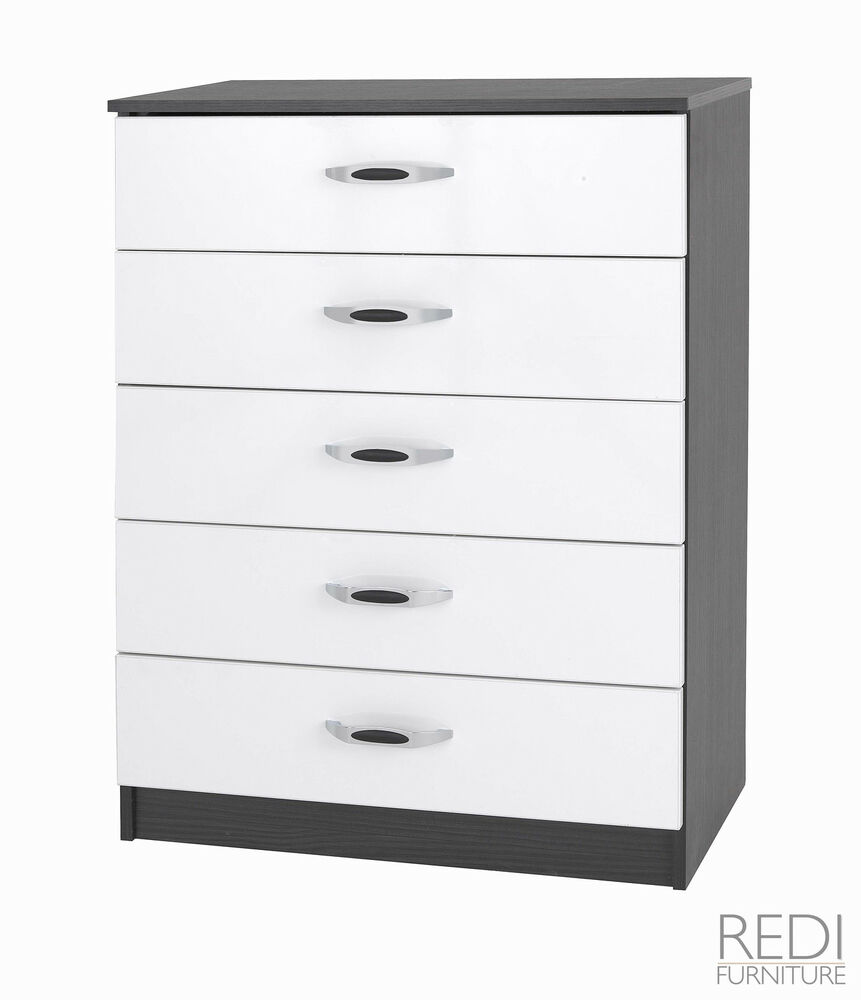 Fully assembled bedroom furniture gloss mono 5 drawer for Assembled bedroom furniture