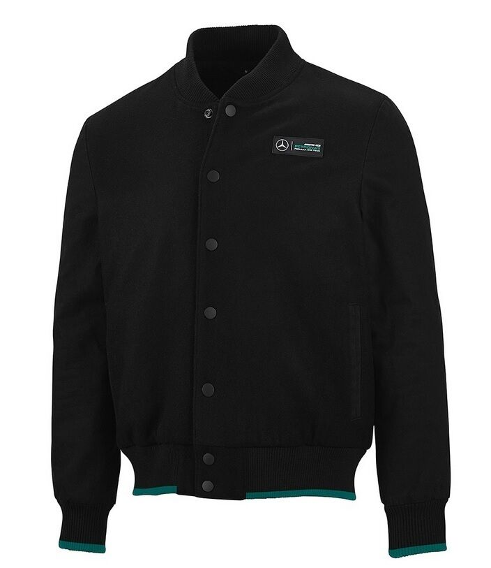 Mercedes benz amg petronas formula 1 men 39 s black varsity for Mercedes benz jacket
