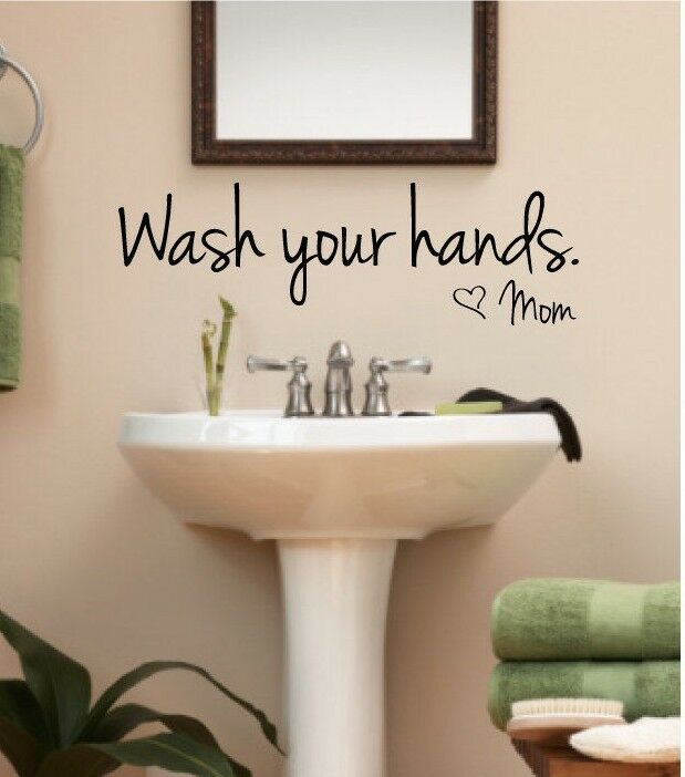 Wash your hands love mom bathroom wall art decal quote for Bathroom wall decor quotes