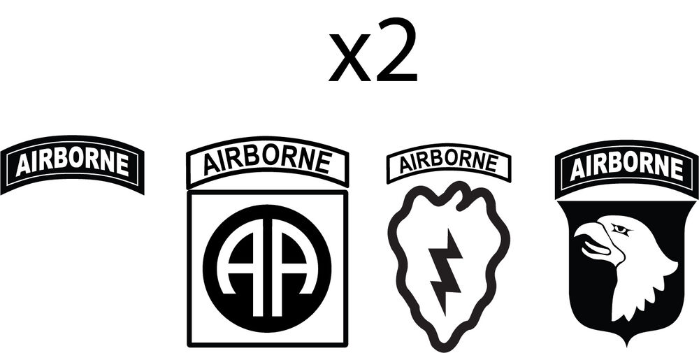 Set of 2 airborne tab army infantry 25th 82nd 101st for 101st airborne window decals