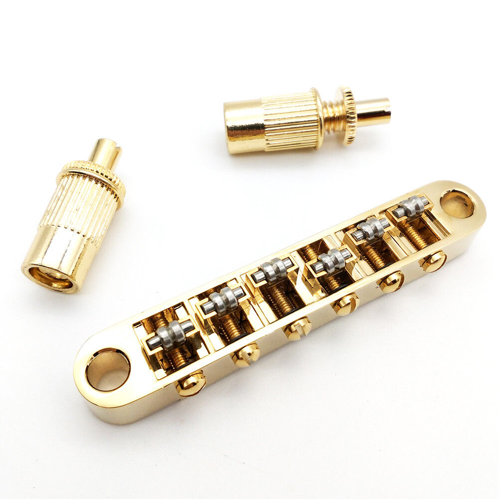 gold roller saddle tune o matic bridge fit gibson epiphone les paul sg dot new ebay. Black Bedroom Furniture Sets. Home Design Ideas