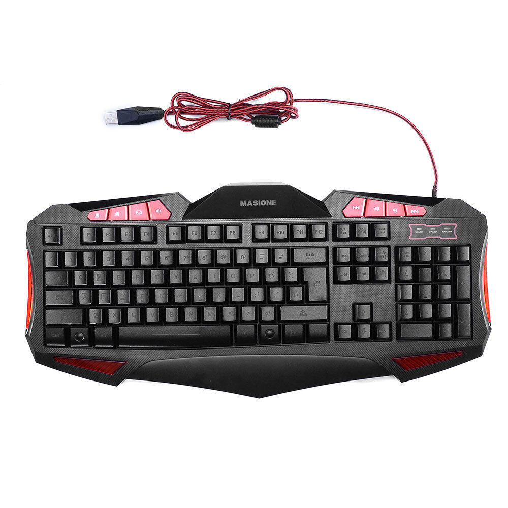 masione gaming keyboard 7 color led ergonomic usb pro multimedia illuminated ebay. Black Bedroom Furniture Sets. Home Design Ideas
