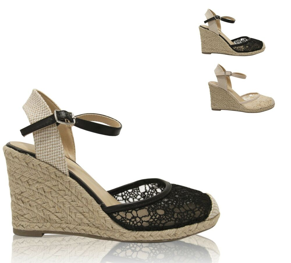 Women's Lace Overlay Closed Toe Ankle Strap Espadrille ...