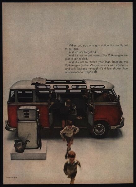 Vw Microbus For Sale >> 1960 VOLKSWAGEN Red Van - Bus - Microbus - Station Wagon Convertible VINTAGE AD | eBay
