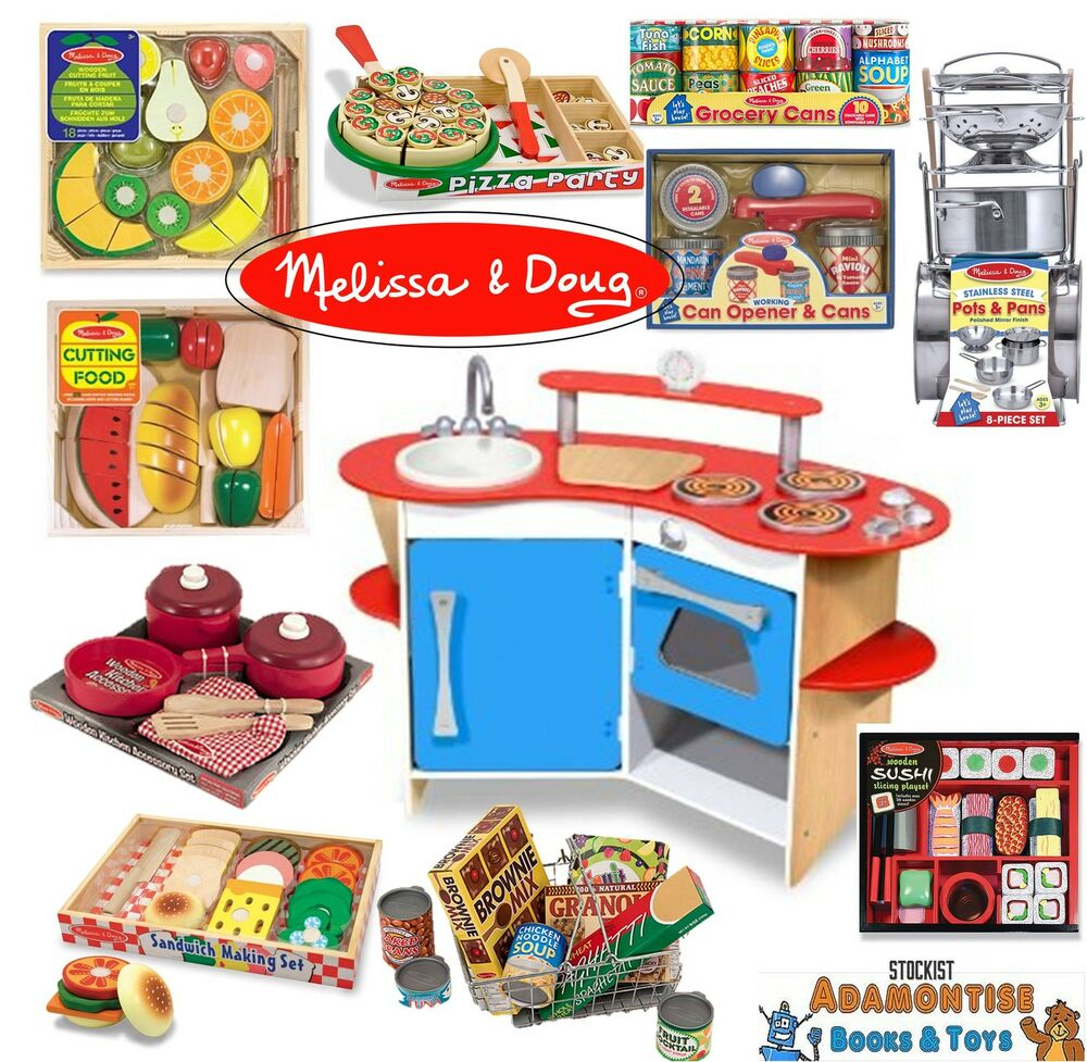 Melissa Doug Role Play Wooden Kitchen Cutting Food Pans Pizza Early Learning Set Ebay