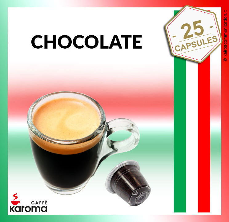25 italian nespresso capsules compatible pods creamy chocolate karoma ebay. Black Bedroom Furniture Sets. Home Design Ideas
