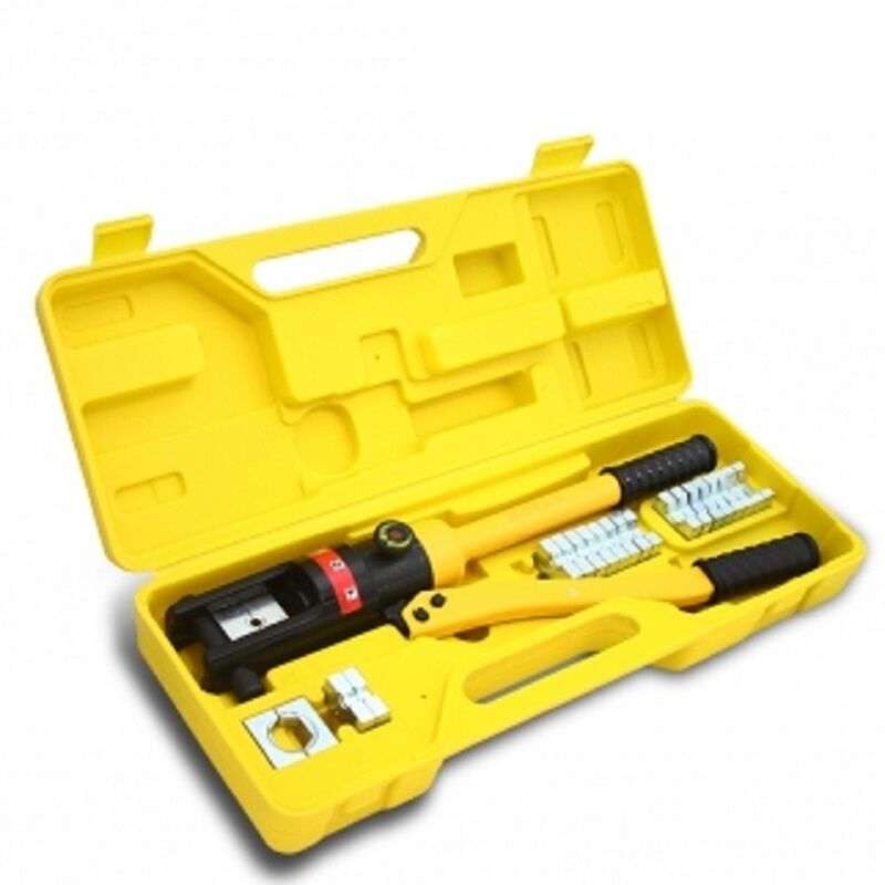 hydraulic crimping tool kit 16 t cable crimper dies wire terminal crimp lug set ebay. Black Bedroom Furniture Sets. Home Design Ideas