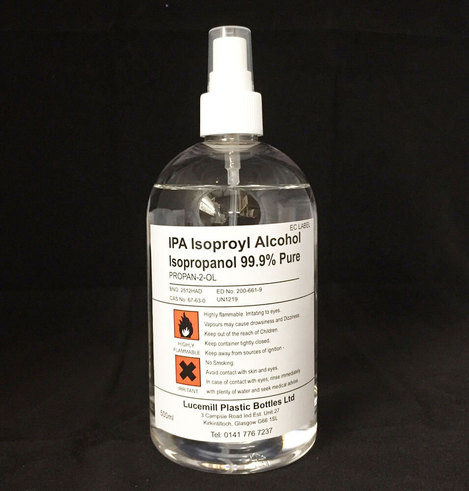 1 X 500mL ISOPROPYL ALCOHOL 99.9% PURE IPA In Clear Bottle