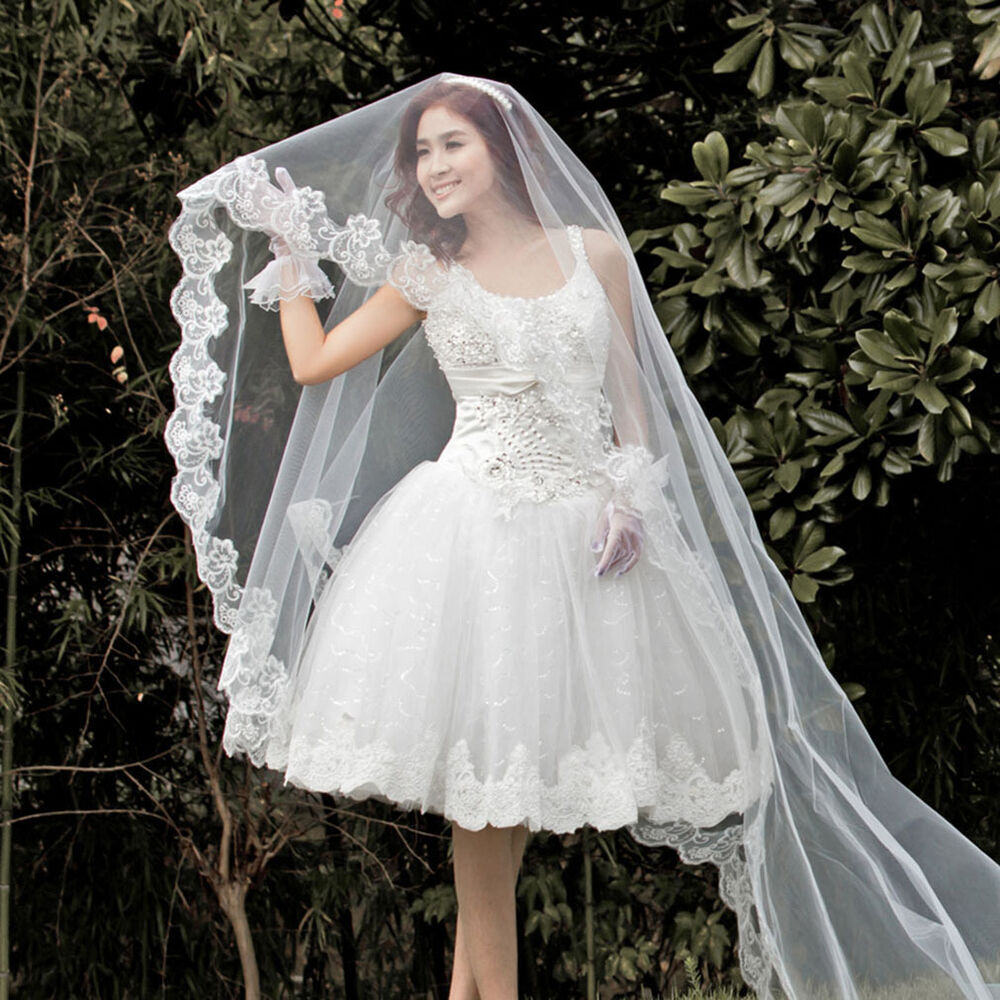 New White Cathedral Long Lace Edge Bride Bridal Wedding