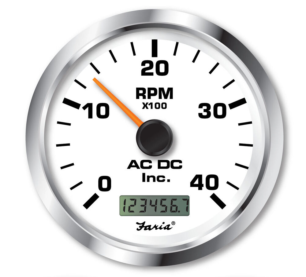 Hour Meter Made In Usa : Faria tachometer with hourmeter rpm marine gauge ac