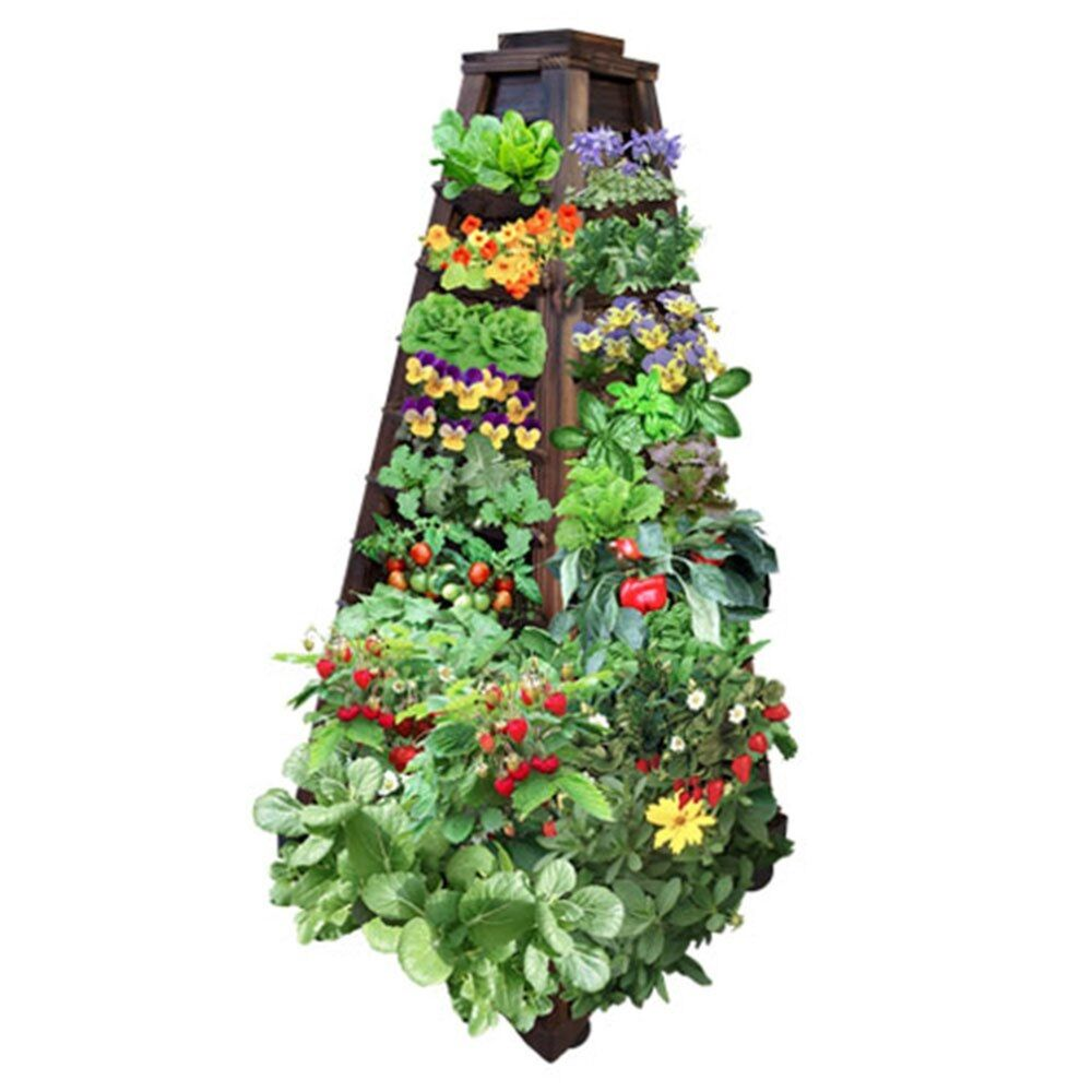 Earth Tower Vertical Garden 4 sided Wooden Planter on