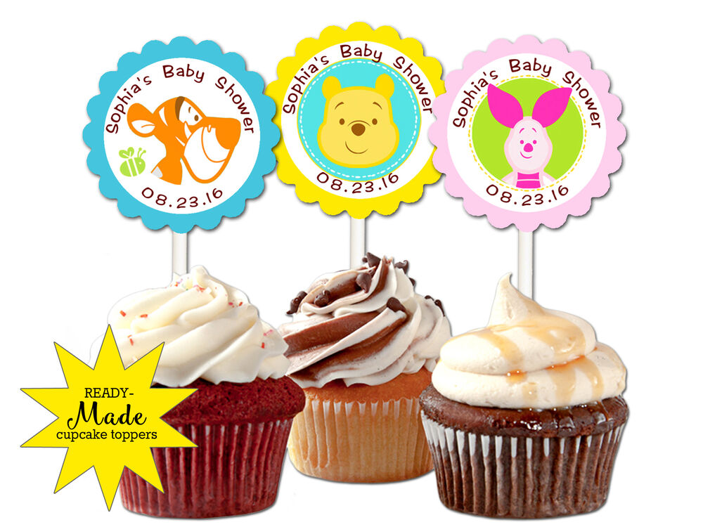 winnie the pooh personalized cupcake toppers baby shower favors