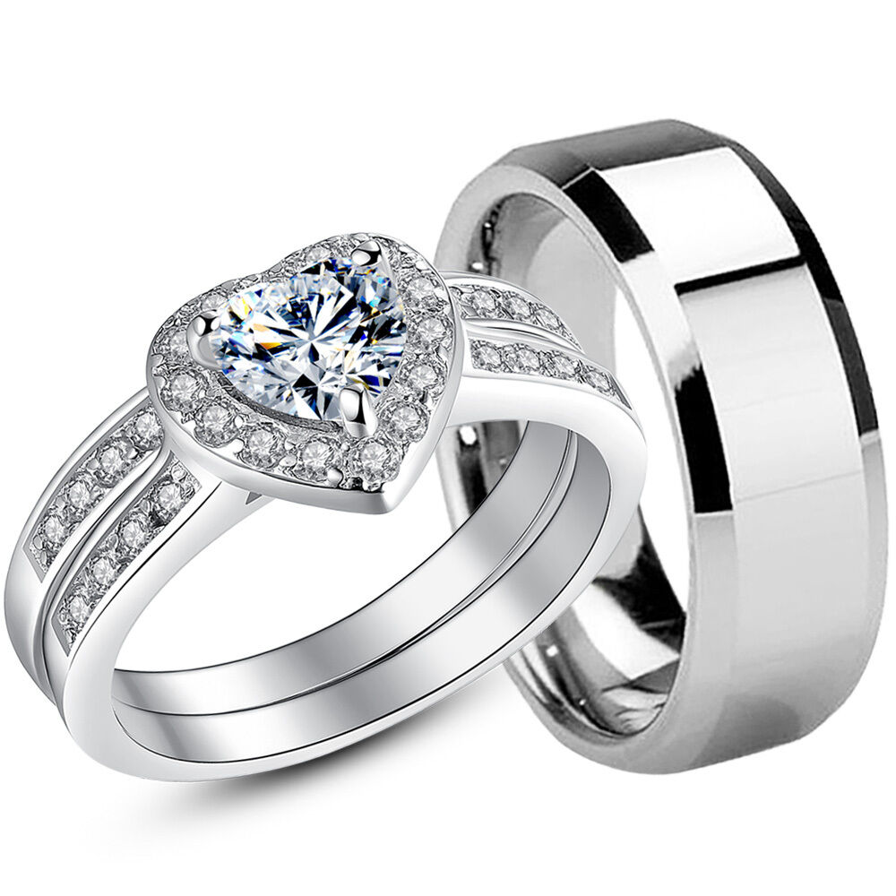 wedding ring sets for women 925 sterling silver cz womens wedding bridal rings set 9995