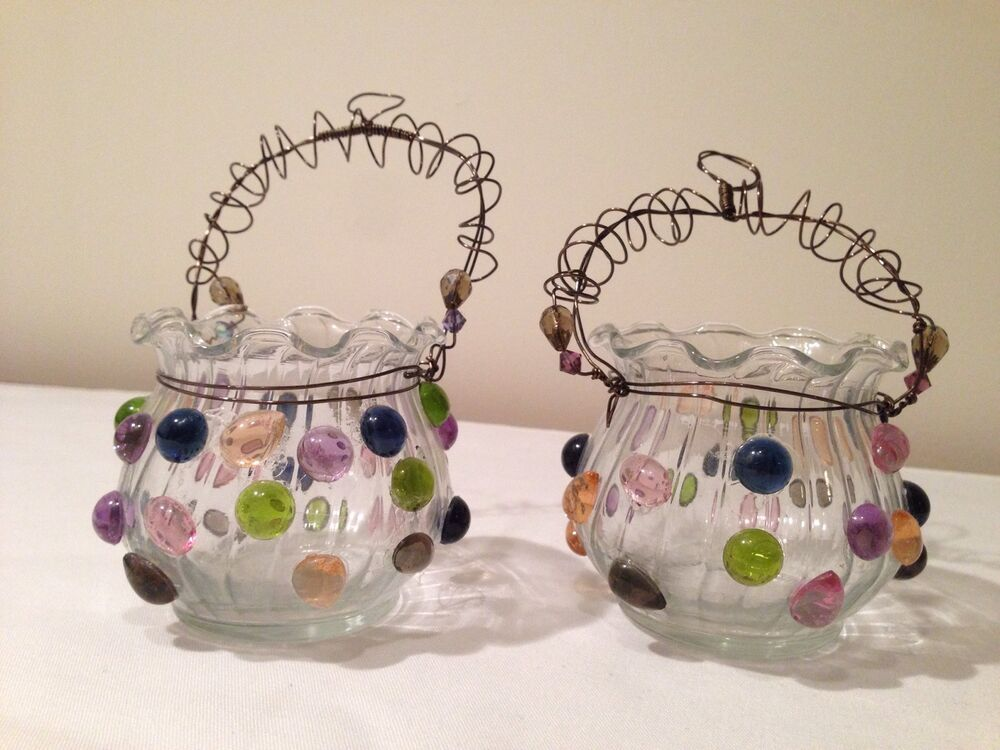Hanging Glass Votive Candle Holders w/ Colored Beads Set