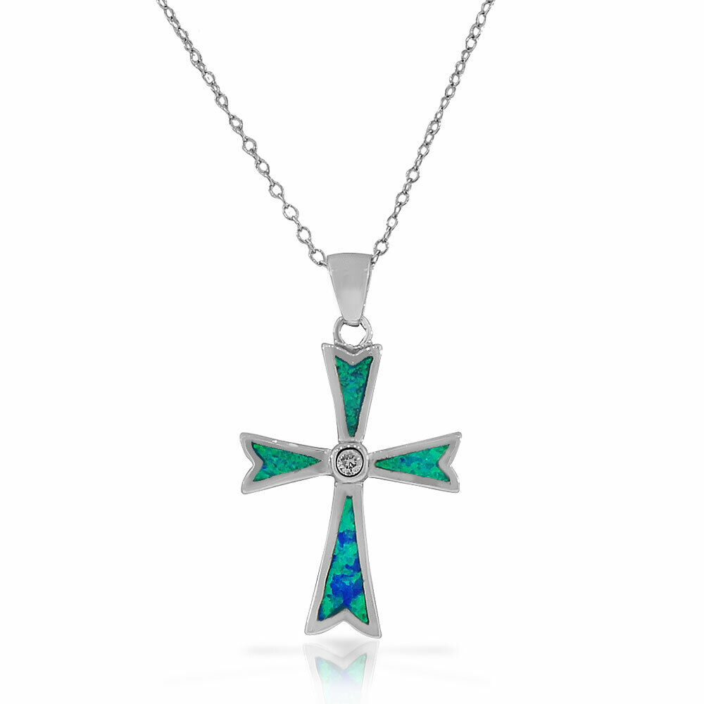 Sterling Silver Cross Blue Turquoise Tone Simulated Opal