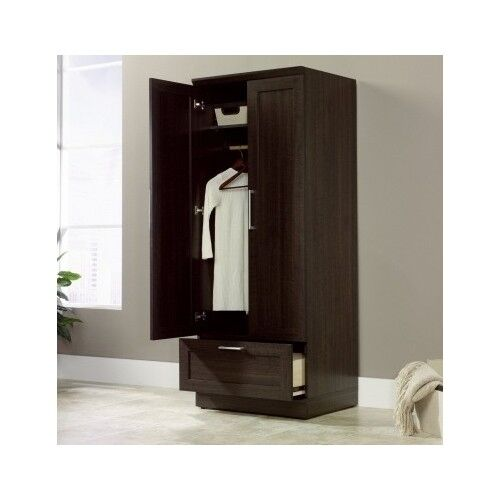 Tall Wardrobe Armoire Storage Closet Wooden Bedroom Furniture Clothes Cabinet Ebay