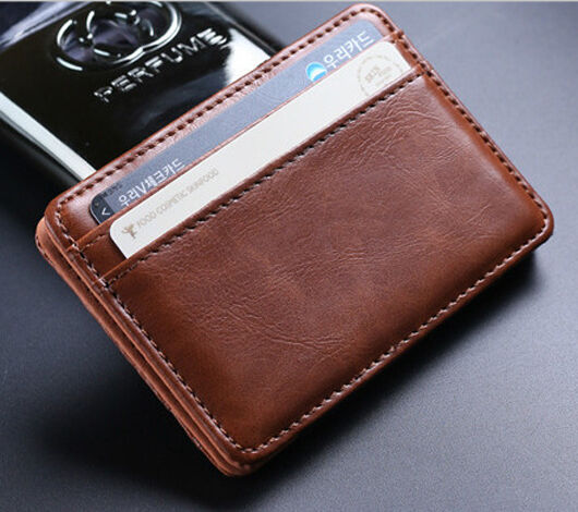 Chic Leather Magic Money Clip Slim Mens Wallet Id Credit