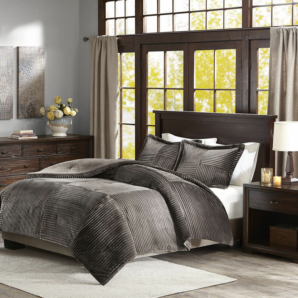 Beautiful 7pc Modern Contemporary Chic Grey White Silver Comforter Set Pillows Ebay