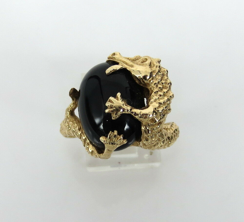 Vintage Onyx Amp Dragon 14K Yellow Gold Ring Size 9