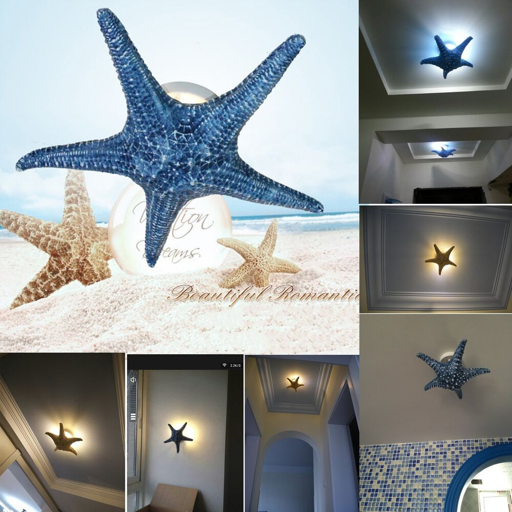 3 Colors 2 Sizes Modern Starfish Wall Light Fixture