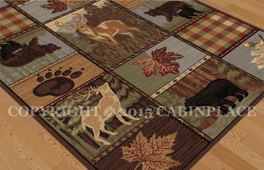 Rugs Rustic Lodge And Cabin Style Wildlife Patch Pattern
