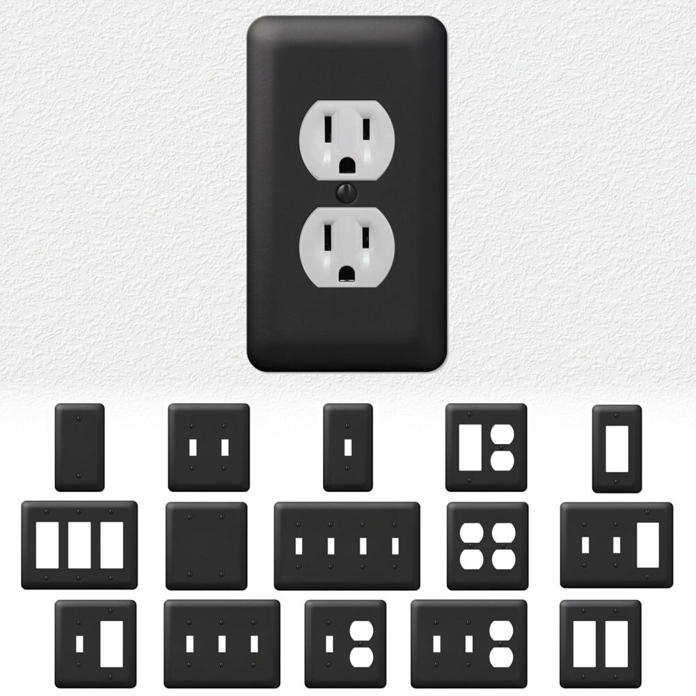 Black Wall Socket Covers Adorable Black Outlet Coverstriple Switch Wall Plateblack And White Design Decoration